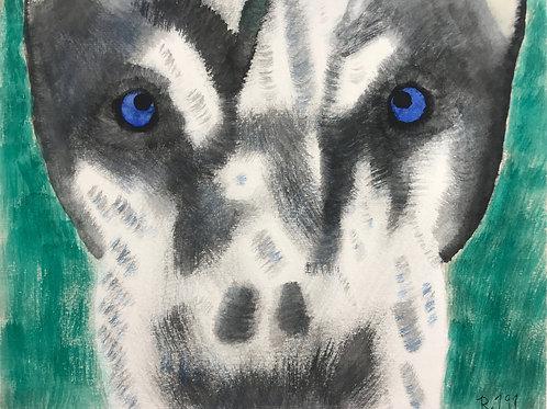 Husky Face Watercolor