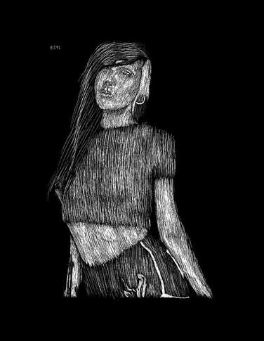 Obsidian Suicide Scratchboard Portrait