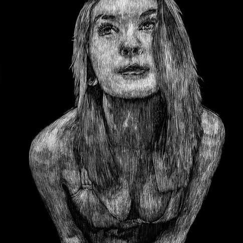 Andonis_x Suicide Girl Hopeful Scratchboard Portrait