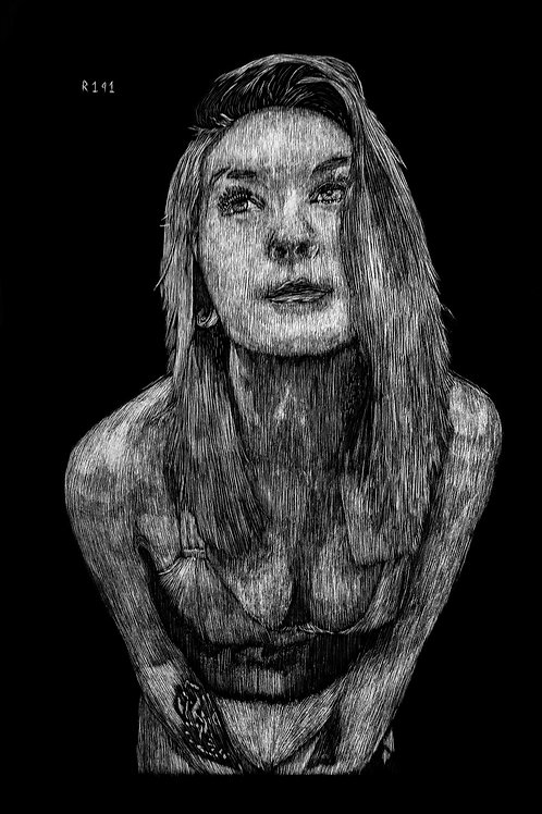 Andonis_x Suicide Girl Hopeful Scratchboard Portrait Print