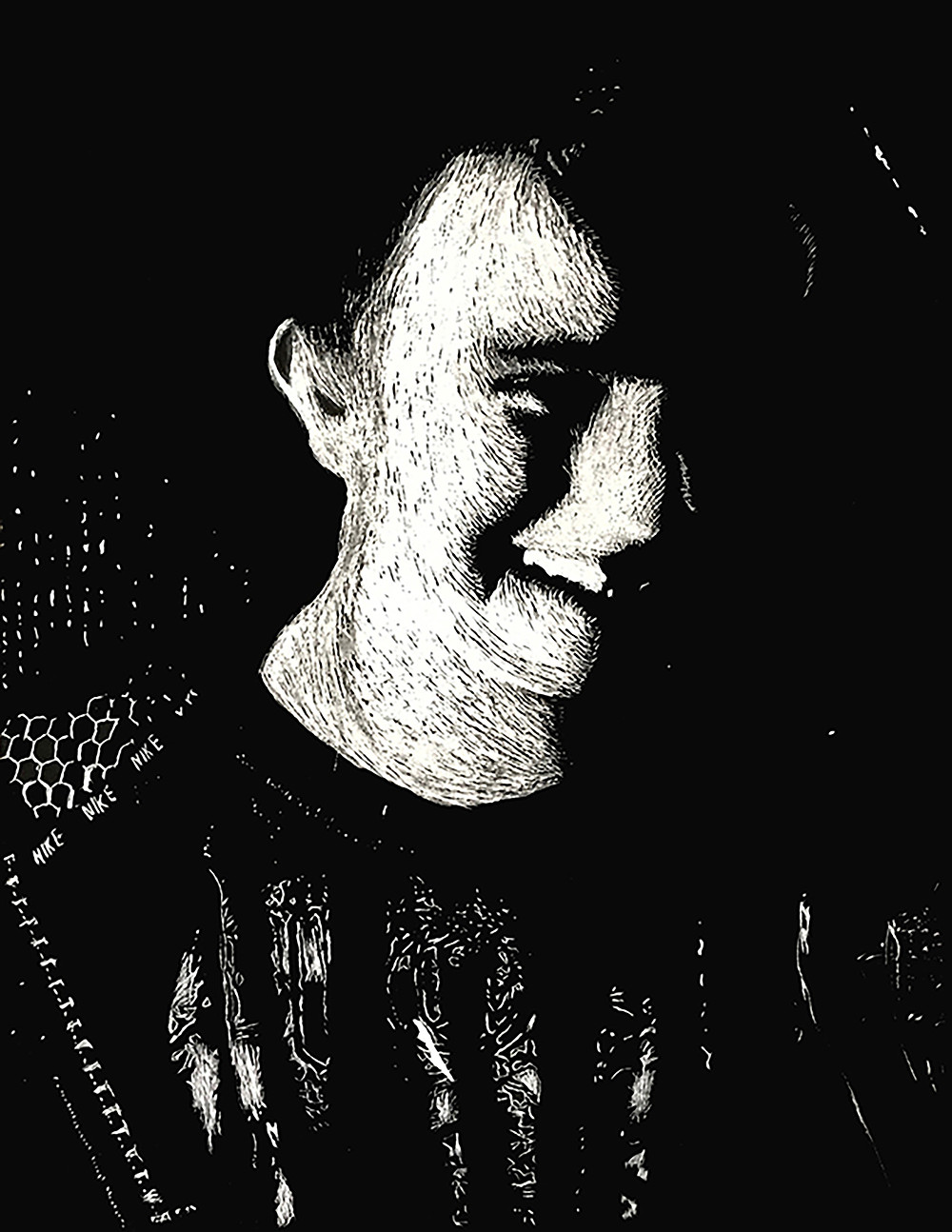 My first scratchboard, a self-portrait for an assignment in high school.
