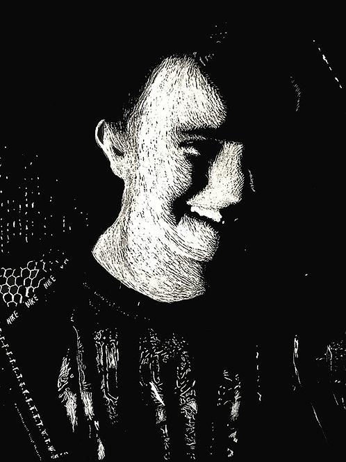 Self-Portrait of Riker191 Scratchboard