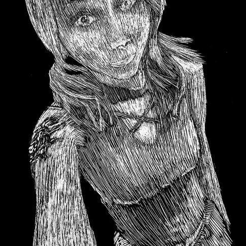 Jobie Scratchboard Portrait