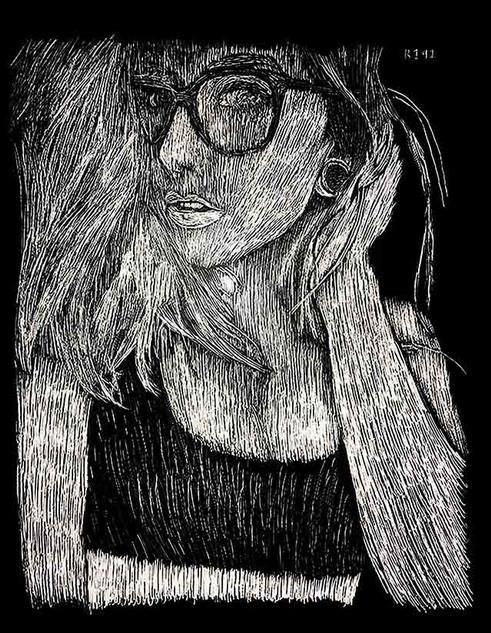 Skella Suicide aka Skella Borealis Close-Up Portrait Scratchboard