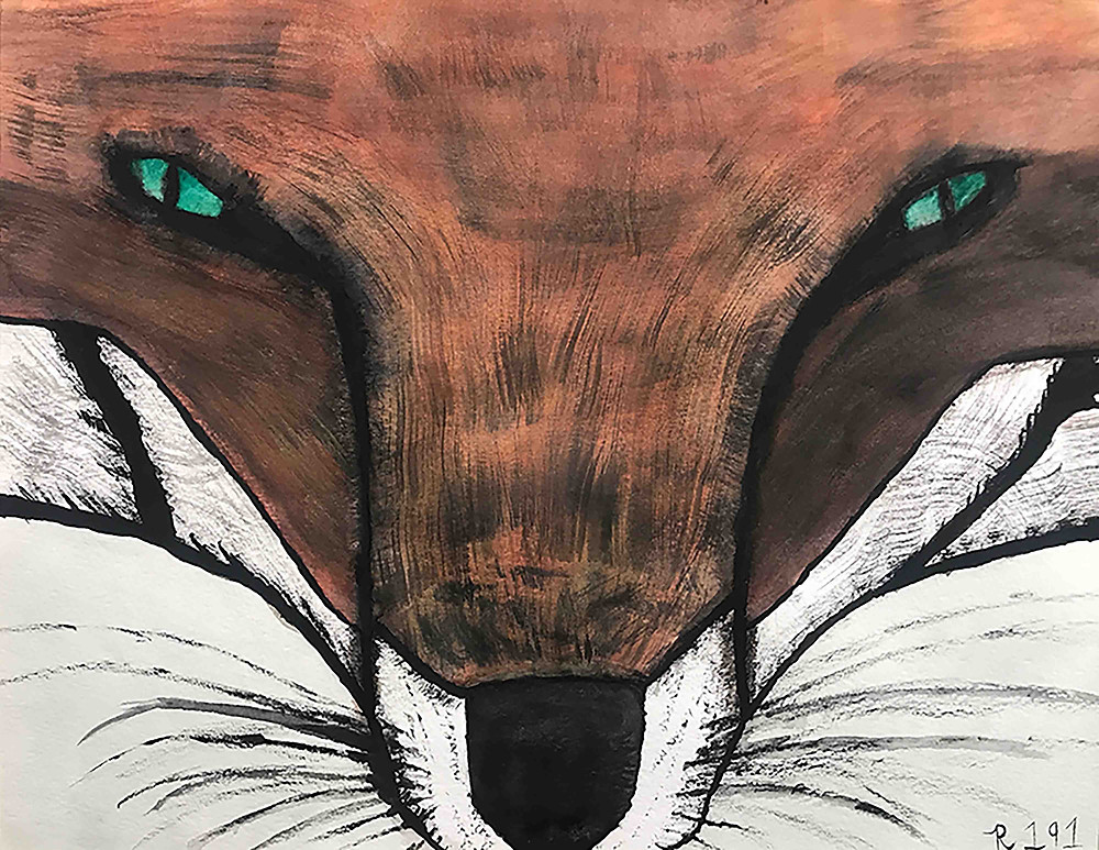 Watercolor of a Fox Face that I believe I made for an AP art assignment.