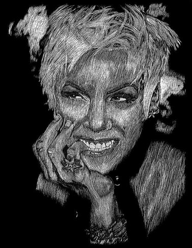 P!nk Close-Up Portrait Scratchboard