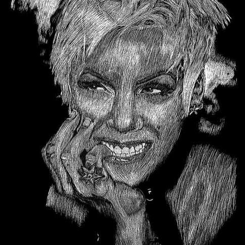 P!nk Close-Up Portrait Scratchboard