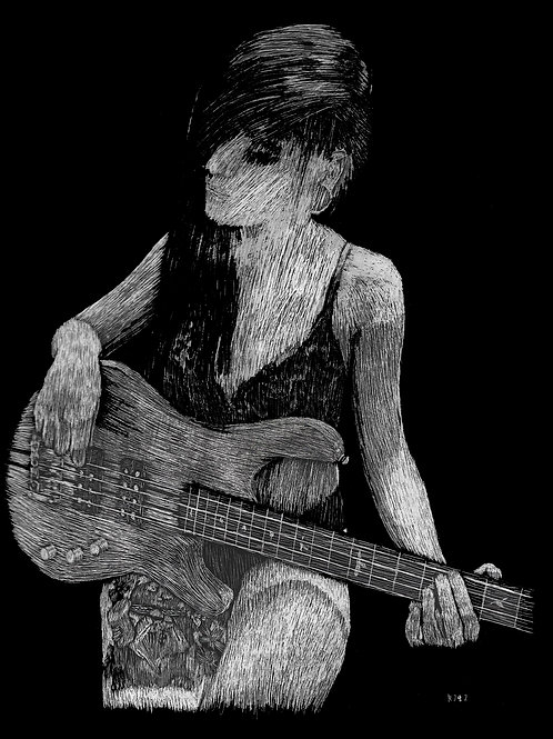 Obsidian Suicide with Bass Portrait Scratchboard
