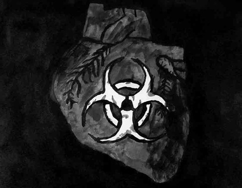 Biohazard Heart Watercolor