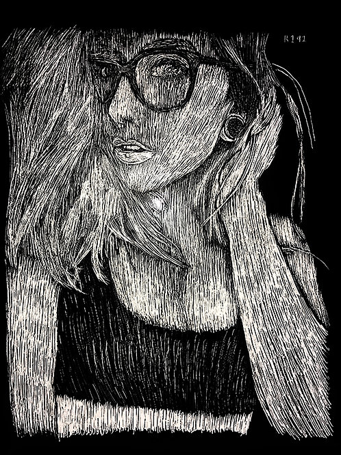 Skella Suicide / Skella Borealis Close-Up Portrait Scratchboard