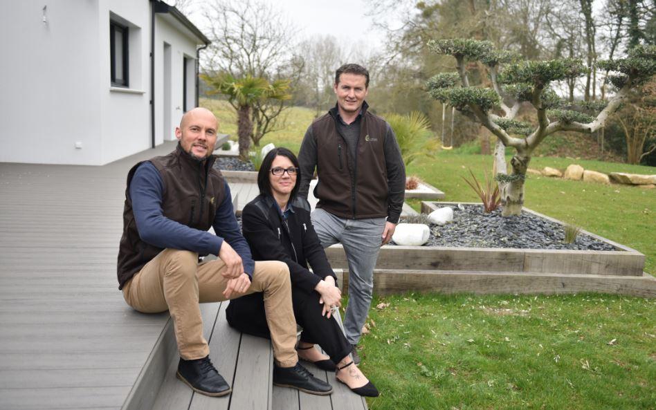 Stéphane, Angélique et Christophe, paysagistes