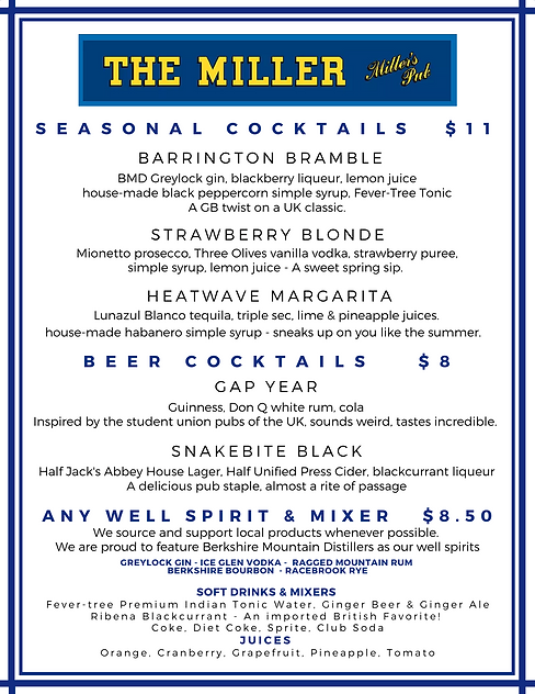 Miller Food and Cocktail Menu Updated 6