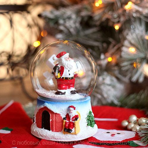 Шар новогодний с падающим снегом
