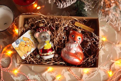Набор елочных игрушек ручной работы «Мышка и Лисичка»