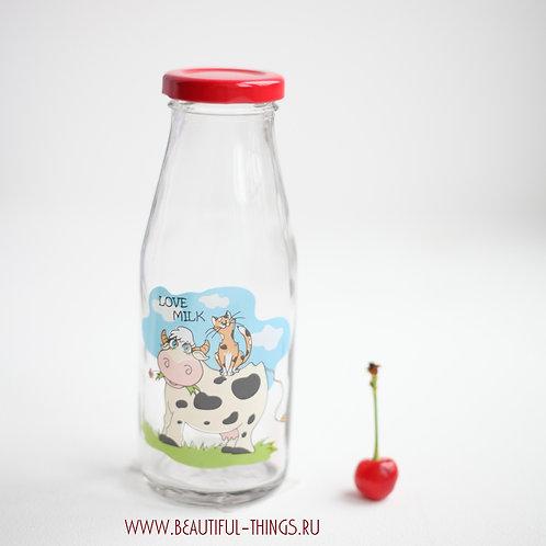 Стеклянная бутылка для молока LOVE MILK, 250 мл.