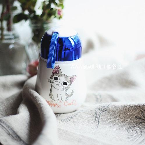 """Кружка с крышкой """"I love cats"""", синяя"""