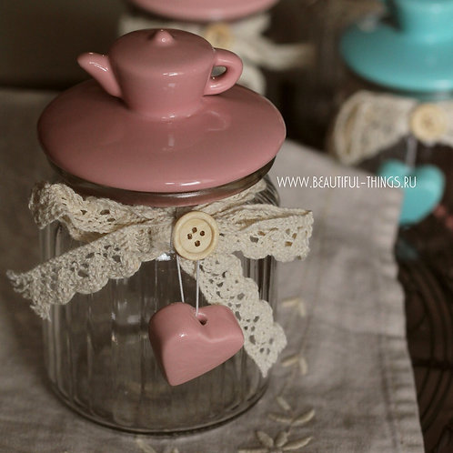 """Баночка для сыпучих продуктов """"Чайничек"""", розовая (с неюольшим браком)"""