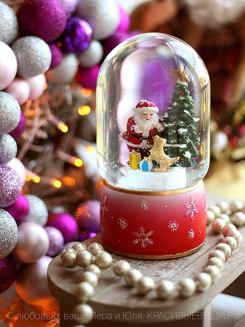 Шар новогодний с падающим снегом и огоньками