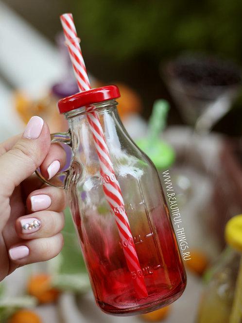 Бутылочка для смузи, красная (цветная)