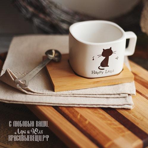 """Чайная пара """"Happy Land"""" с кошкой, 200 мл."""