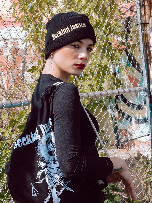 Lady Justice Draw-String Bag +Beanie Combo