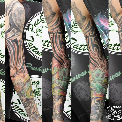Sleeve tattoo by Jamie Russo Barrie