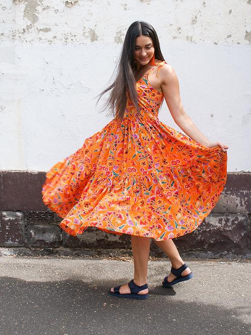 Uluru Blooms Silk Flounce Dress