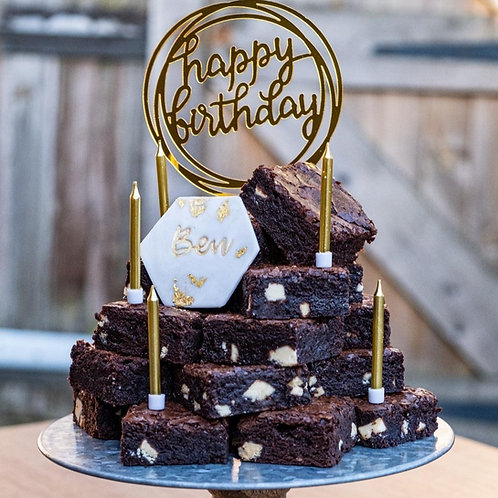 Birthday Brownie Stack with personalised name plaque (Incl. P&P)
