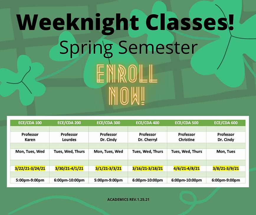 Spring Semester - Weeknight Schedule - A