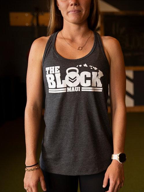 Woman's tank - Heathered Black - White Block Island Logo