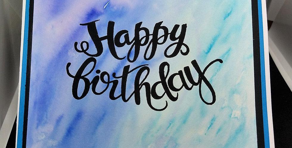 Waterclolour Background 6x6 Birthday Card Blue