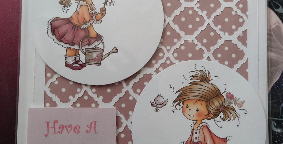 Lattice Front Cute Girl 6x6 Birthday Card