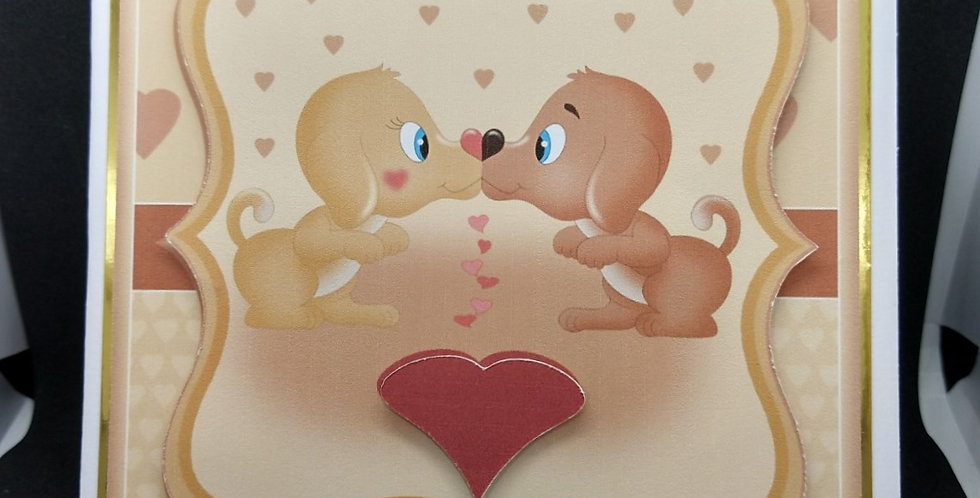 Kissing Dogs 6x6 Valentines Card