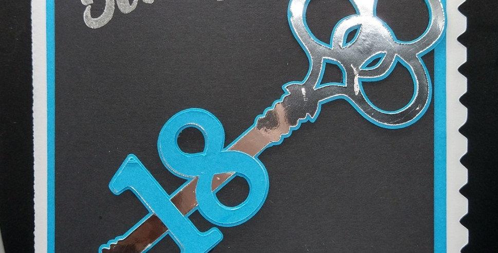 18th Key A5 Birthday Card Blue