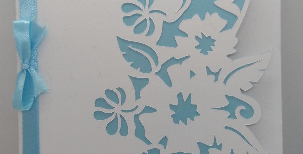 Pretty Simple Flower Cutout Blue A5 Birthday Card