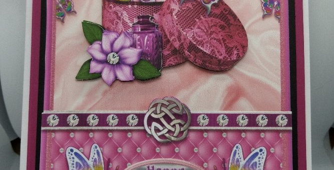 Quilted Satin Pink A5 Birthday Card