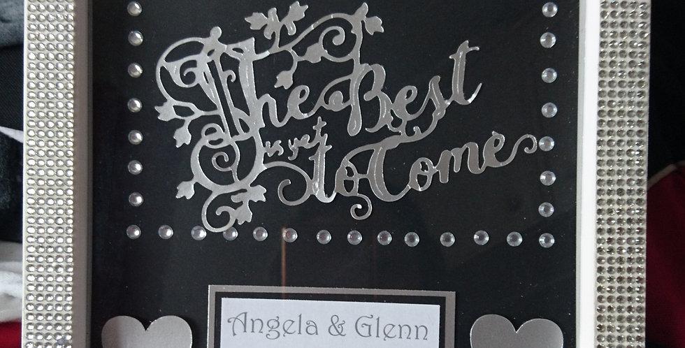 Wedding/Anniversay Gift Personalised White Diamante Box Frame