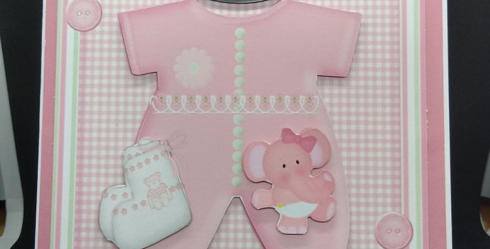 Baby Girl Onesie 6x6 Card
