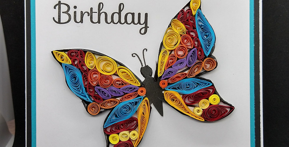 Quilled Butterfly1 6x6 Birthday Card