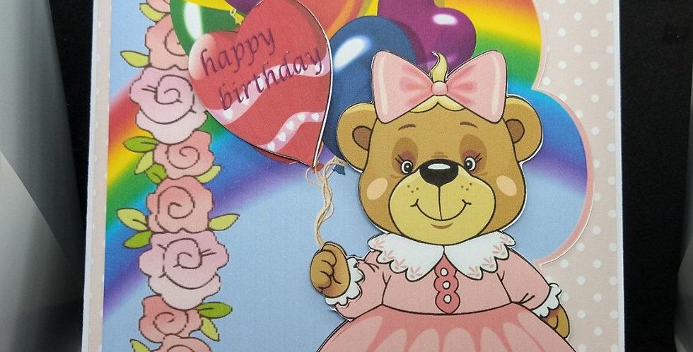 Over The Rainbow Girls A5 Birthday Card