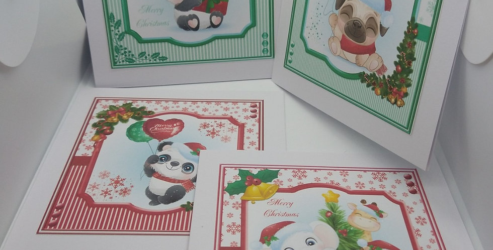 5x5 Christmas Cuties Christmas Card Multipack Red and Green