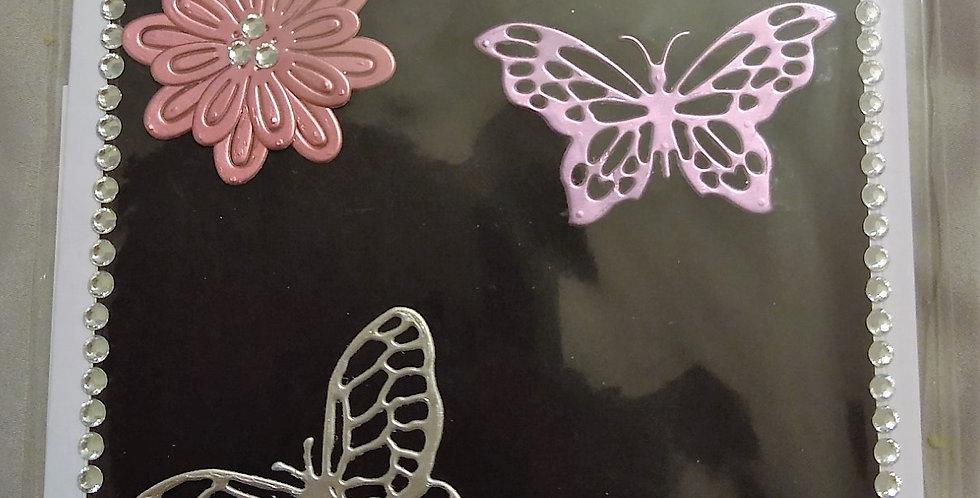 Embossed Butterflies Daughter Birthday Card