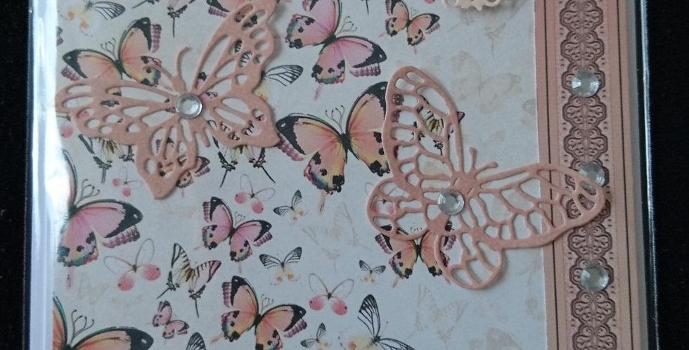 Rose Gold Butterflies Birthday Card