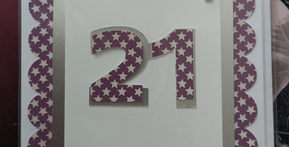 5x7 Scalloped Stars 21st Birthday Card Various Colours