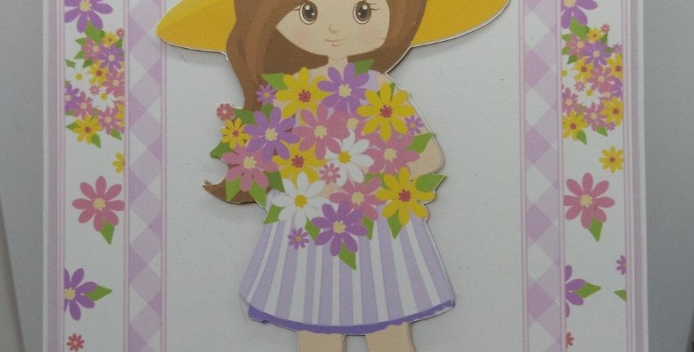 Spring Flower Girl A5 Birthday Card