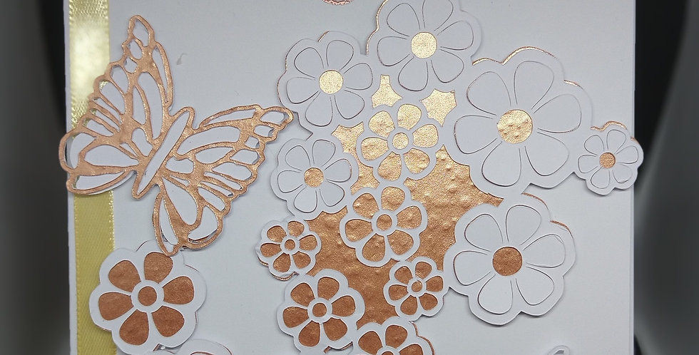A5 Flower Cascade and Butterflies Rose Gold BirthdayCard