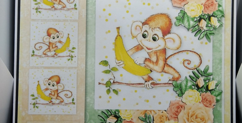 Cheeky Monkey Children's 8x8 Birthday Card