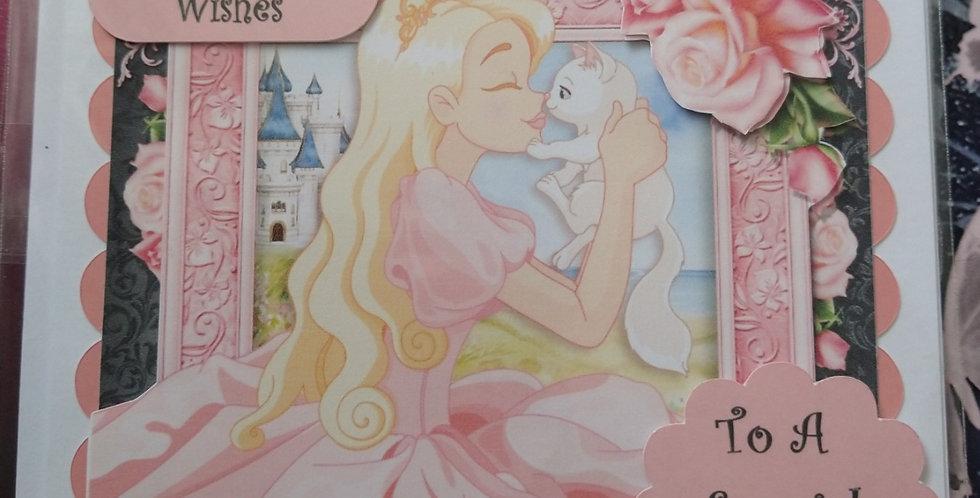 Daughter Princess & Cat Birthday Card 6x6
