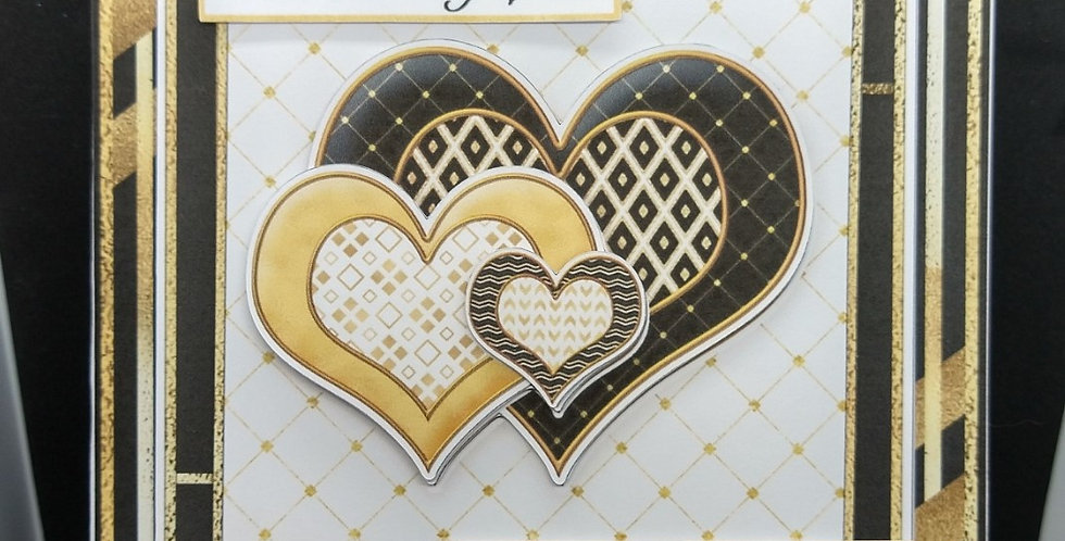 Valentines 6x6 Black and Gold Hearts