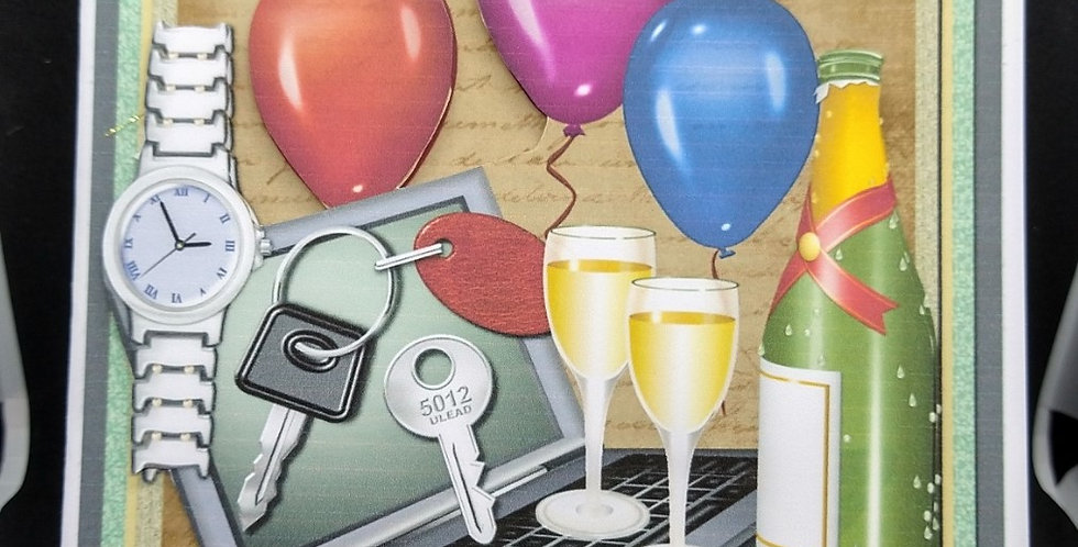 Male Birthday Laptop and Balloons 6x6 Card Various Recipients